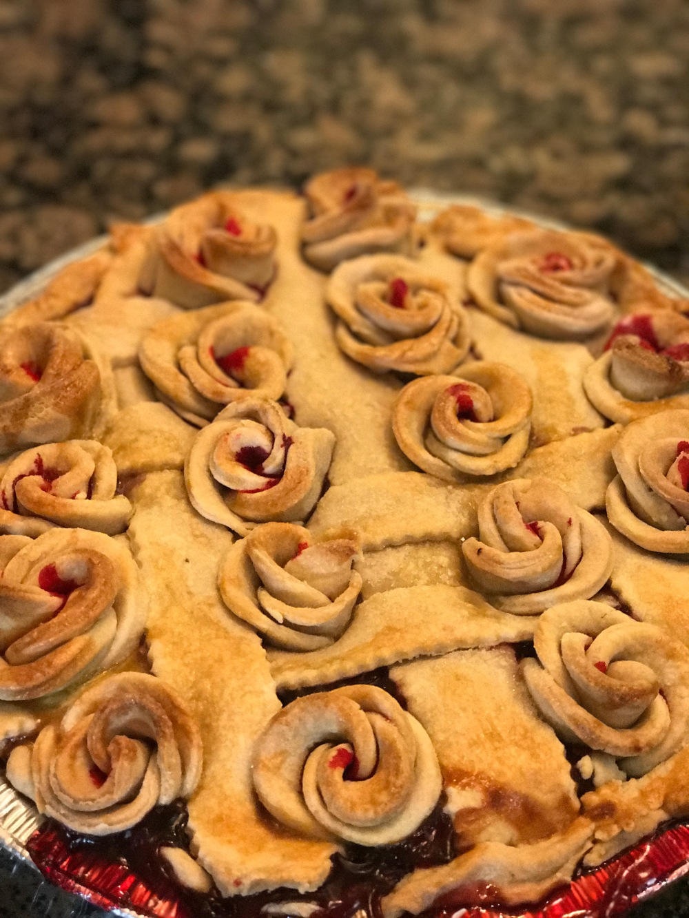 baked rose pie crust